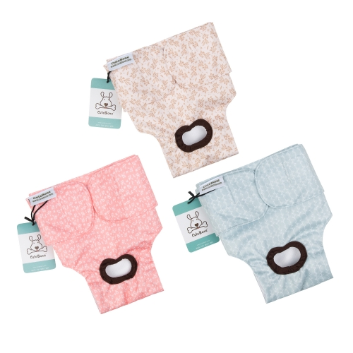 CuteBone 3 Pack Female Dog Diapers for Untrained Puppies, Dogs in Heat, Doggie Menstrual and Incontinence D16
