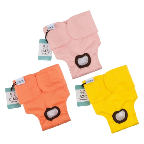3 Pack Plain Color Female Dog Diapers -Pink&Yellow&Orange