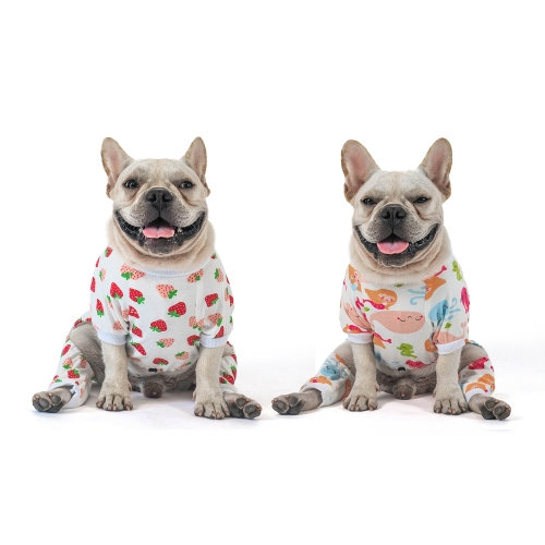 2 pack of Cotton Dog Pajamas - Strawberry&Mermaid
