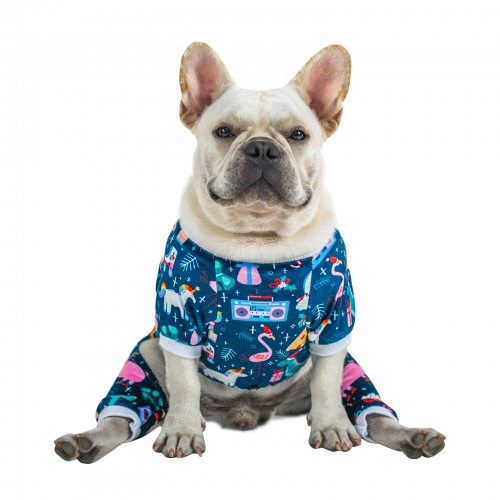 Animal Park Pattern Dog Pajamas for Halloween,Christmas and Holiday,Light Blue