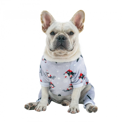 Grey Penguin Pattern Dog Pajamas for Halloween,Christmas and Holiday,Light Gray