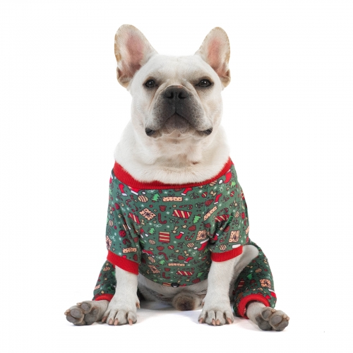 Santa Tree Dog Pajamas for Christmas and Holiday,Dark Green
