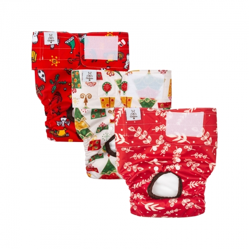 3 Pack Christmas Style Dog Diapers