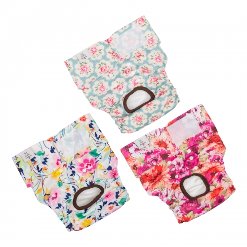 3 Pack Floral Print Reusable Diapers for Female Dog