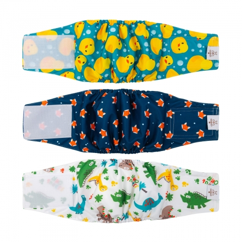 3pcs Washable Belly Bands for Male Dogs -- Duck&Dinosaur