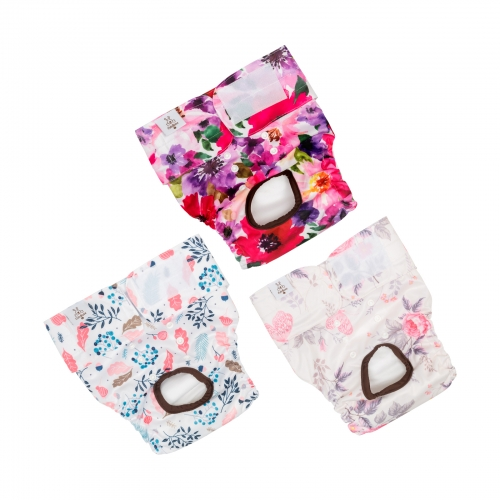 3 Pack Jungle Series Pink Female Dog Diapers