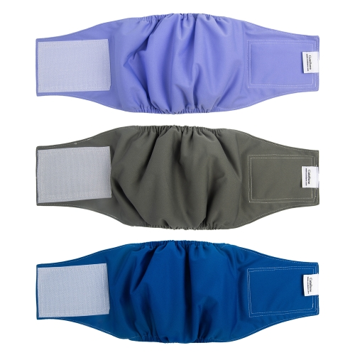 3pcs Washable Belly Bands for Male Dogs -- Purple&Grey&Blue