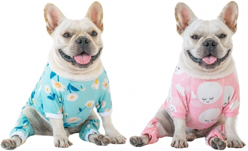 2 pack Cotton and Stretchy Dog Pajamas - Clouds&Flowers