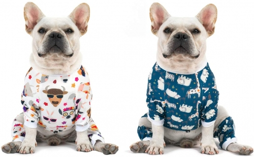 2 pack Cotton and Stretchy Dog Pajamas - Animals