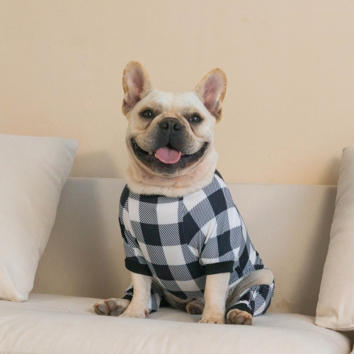 Cotton and Stretchy Dog Pajamas - Plaid White