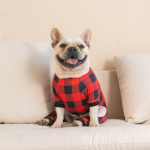 Cotton and Stretchy Dog Pajamas - Plaid Red