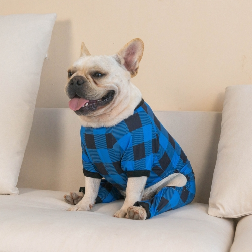 Cotton and Stretchy Dog Pajamas - Plaid Blue