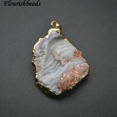 Gold Plating Gray Rough Agate Stone Pendant Jewelry
