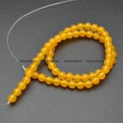 Yellow Agate 6mm Round Loose Beads For Jewelry Making