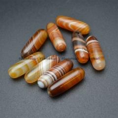 High Quality 10x30mm Banded Bright Yellow Agate Dzi Tube Sardonyx Gemstone Beads