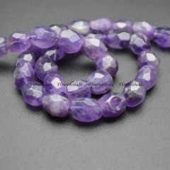 Faceted Nucleated Barrel Amethyst Loose Beads For Making Jewerly