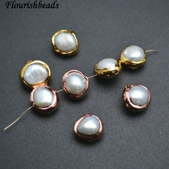 Gold Rose Gold Plating Copper Paved Natural White Pearl Roundle Loose Beads