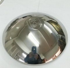 "Stainless Steel Early Domed Hub Caps with ""Wolfsburg"" Logo"