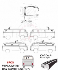 VW BUS 1968-1979 FULL WINDOWS SEAL KIT 6PCS CALLOOK
