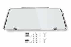Type 2 Bus Rear Safari Window Complete Kits 55-63  15 or 23 Windows Stainless Steel