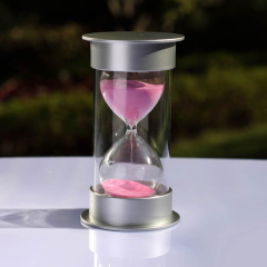 15 Minute Plastic Sand Timer with pink sand