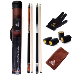 CUESOUL Combo Set of House Bar Pool Cue Sticks - 2 Cue Sticks Packed in 2x2 Hard Pool Cue Case