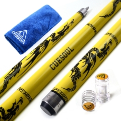 "CUESOUL SOOCOO 58"" 19oz Yellow Maple Pool Cue Stick Set with Joint/Shaft Protector and Cue Towel."
