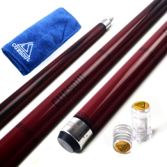 "CUESOUL SOOCOO 58"" 19oz Maple Pool Cue Stick Set with Joint/Shaft Protector and Cue Towel."