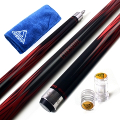"CUESOUL SOOCOO 58"" 19oz Red and Black Maple Pool Cue Stick Set with Joint/Shaft Protector and Cue Towel."