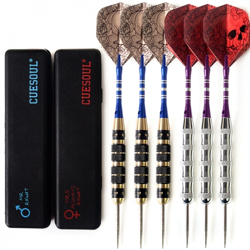 CUESOUL 6 Pcs Couples Package Steel Tip Darts Mr.Right & Mrs. Always Right