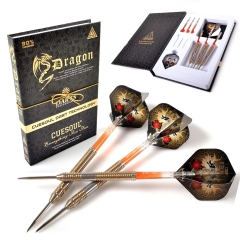 CUESOUL Dragon Fashionable 90% tungsten 22g/24g/26g Steel Tip Darts Set,Barrel with Titanium Coated