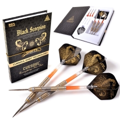 CUESOUL BLACK SCORPION 22g/24g/26g Tungsten Steel Tip Dart Set,Barrel with Golden Titanium Coated Finished