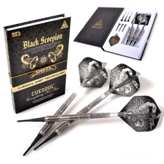 CUESOUL BLACK SCORPION 18g Tungsten Soft Tip Dart Set,Barrel with Titanium Coated Finished