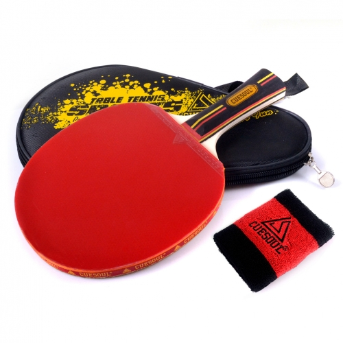 CUESOUL PROPER Table Tennis Racket with Carrying Case ,Shakehand (Long Handle)