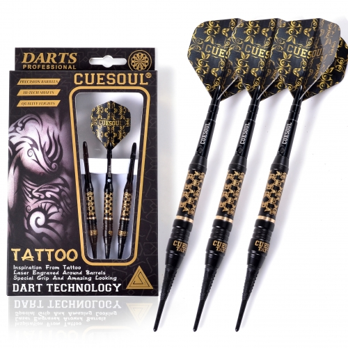 CUESOUL TATTOO Series 17g Black Coated Brass Soft Tip Darts,with Unique Pattern Engraved