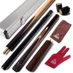 "CUESOUL 57"" Handcraft 3/4 Jointed Snooker Cue with 2 Cue Extension Packed in Aluminium Cue Case"