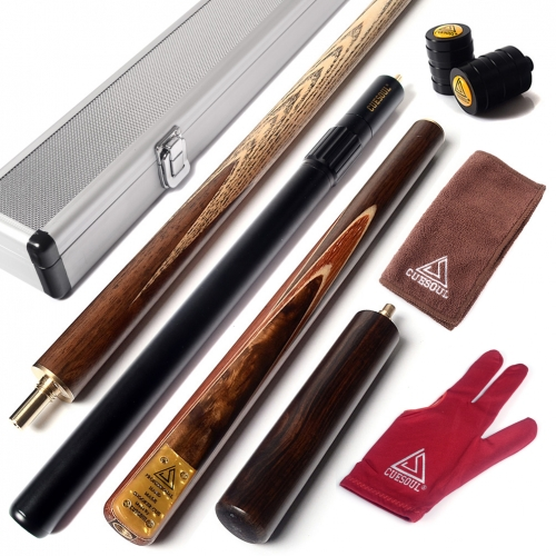 "CUESOUL Handcraft  57"" 18oz  3/4 Jointed Snooker Cue with Mini Butt End Extension Combo Set"