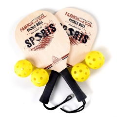 CUESOUL Basswood Pickleball Paddle Bundle (Set Includes 2 Paddles & 4 Balls)