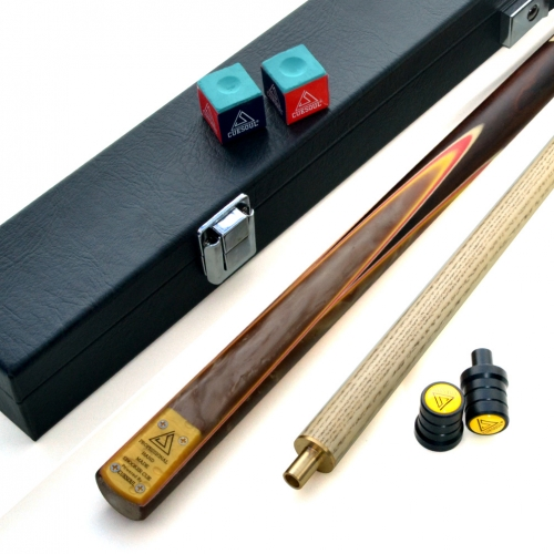 "CUESOUL 57"" 2 Piece Jointed Snooker / Pool Cue Hand-Spliced with Leatherette Cue Case"