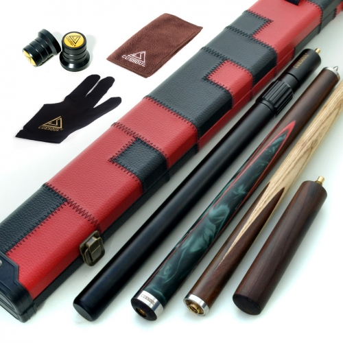 "CUESOUL 57"" Hand-Spliced 3/4 Jointed Snooker Cue with 2 Extensions Packed in Leatherette Cue Case"