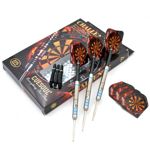 CUESOUL  22/24/26 Grams Tungsten Steel Tip Darts Set with Straight Barrel-Challenge  Series