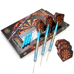 CUESOUL  22/24/26 Grams Tungsten Steel Tip Slim Darts Set with Blue Titanium coating-Challenge  Series