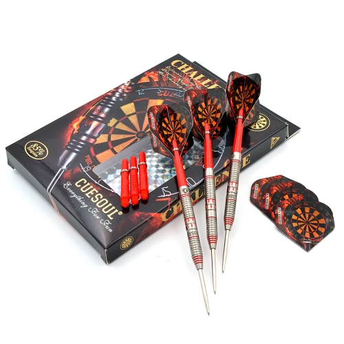CUESOUL  22/24/26 Grams Tungsten Steel Tip Darts Set with Red Line-Challenge  Series