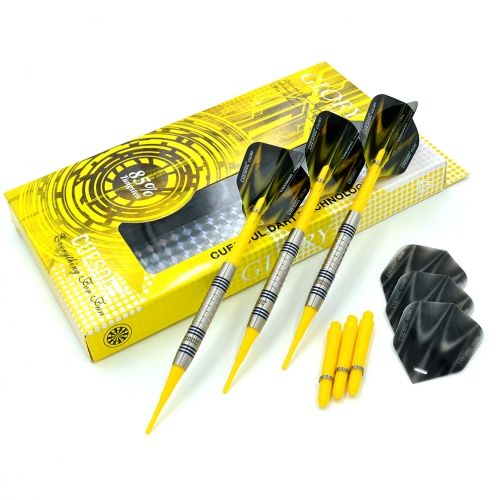 CUESOUL GLORY 85% Tungsten 16g Soft Tip Dart Set with Yellow Shafts