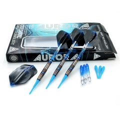 CUESOUL AURORA 18g Soft Tip Tungsten Dart Set with Blue Titanium Nitride Coating