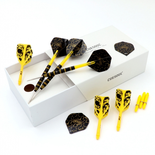 CUESOUL CHALLENGE 90% 22/24/26g Steel Tip Tungsten Dart Set with Yellow Lines
