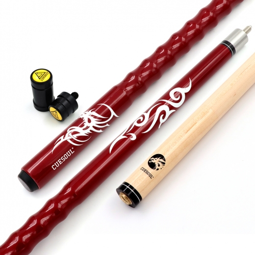"CUESOUL 58"" 21oz Maple Pool Cue Stick 13mm tips,Very Nice Grip,with Joint Protector/Shaft Protector"