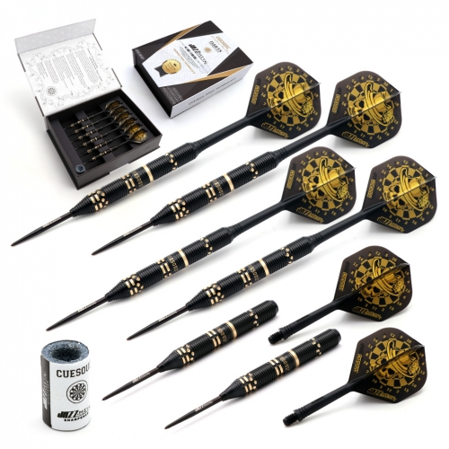 CUESOUL JAZZ-METAL 21g Steel Tip Black Coated Brass Dart Set with AK5 Integrated Flights