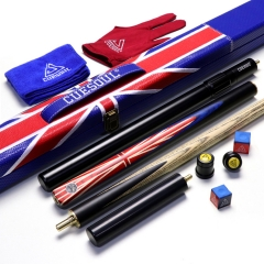 "CUESOUL 57"" 3/4 Jointed Snooker Cue Hand-Spliced with 2 Extensions Packed in Leatherette Cue Case"