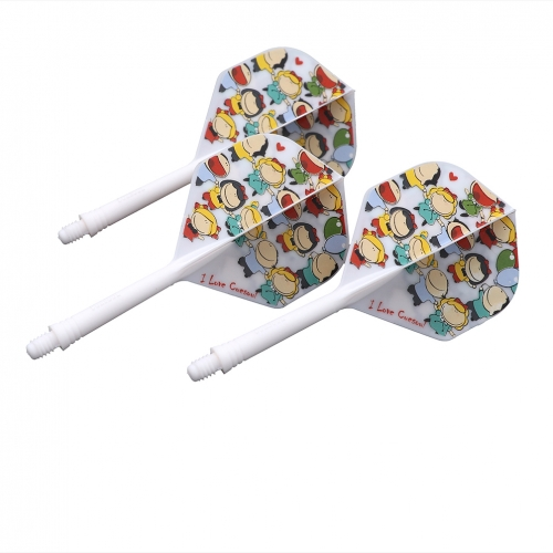 CUESOUL Integrated Dart Shaft and Flights Medium Standard Shape-LOVEone,Set of 3